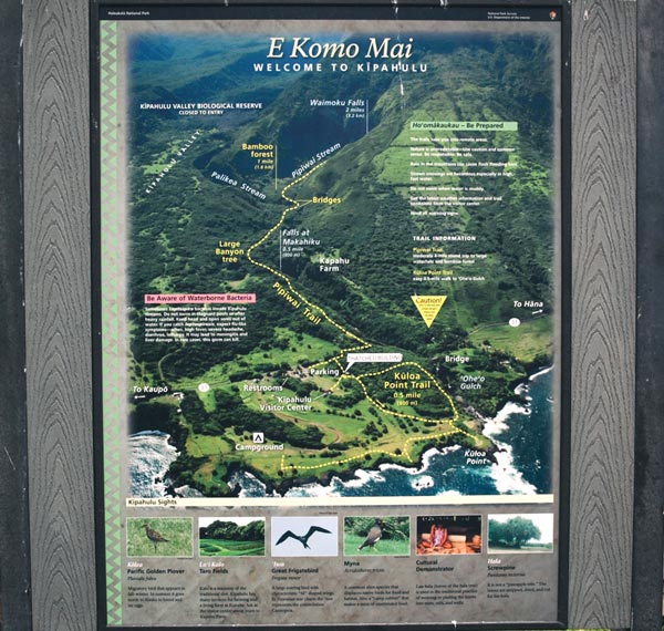 Sign at Haleakala National Park - Kipahulu side