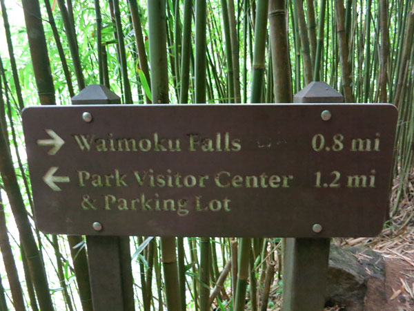Sign to Waimoku Falls - Pipiwai Trail on Maui